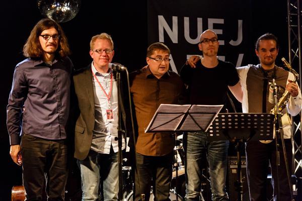 Andreas Kurz Michael Flügel  Andrey Lobanov Bastian Jütte Florian Trübsbach NUEJAZZ 2014-10-16 - Gustav Eckart, Photographie
